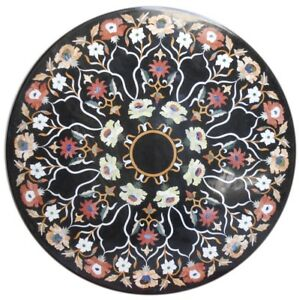 "36"" black marble Table Top Inlay pietra dura marquetry Handmade work"