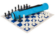 Quiver Chess Set Combination - Triple Weighted - Neon Blue Bag / Royal Blue Boar