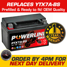 PTX7A-BS Powerline Bike Motorcycle Battery Replaces YTX7A-BS