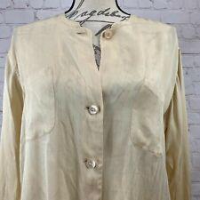 New listing Vintage Giorgio Armani 100% Silk Long Sleeve, Button Up, Cream Blouse, Size 46