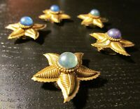 5 Vintage Gold Tone Star Button Covers Turquoise, Blue, Purple Shirt Jacket 1.5""