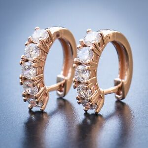 Mens Women's Small Rose Gold Iced 5A CZ Stone Hoop Earrings