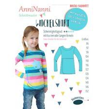 Schnittmuster AnniNanni Wickelshirt für Mädchen Shirt Gröen 86 bis 152
