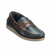 Clifford Mens Dartmouth Deck Leather Shoe Navy Brown Slip 10 Free shipping DTJ