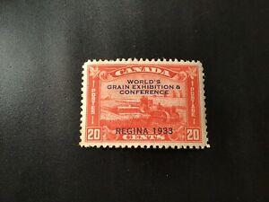 """JPS_Stamps! #203...""""Harvesting Wheat, 20¢ brown red"""" (mint, no gum)"""