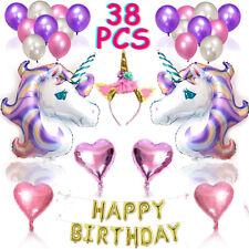 38pcs Balloon Set Unicorn Kids Birthday Party Supplies Banner Decoration