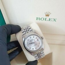Gents Rolex Datejust in Stainless Steel with Silver Diamond Dial.