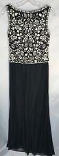 Tadashi Petite Black Long Dress with White Applique Beads - Petite M