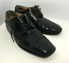 STACY ADAMS Mens Genuine Snake Skin Leather Black Square Toe Oxford Shoes 9M