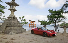 "2012 TESLA ROADSTER JAPAN A4 CANVAS PRINT POSTER 11.7""x7.6"""