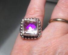 Sterling silver cut rainbow mystic topaz ring UK N½-¾/US 7.25. UK Seller