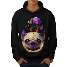 Wellcoda Pug Dog Rain Cool Funny Mens Hoodie, Tear Casual Hooded Sweatshirt