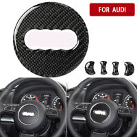For Audi A3/A4L/A6L/Q3/Q5/Q7 Real Carbon Fiber Interior Steering Wheel Logo Trim