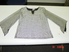 NWT Womens Blouse Top Silver Fancy Party Holiday Sami Jo Classy Shimmers