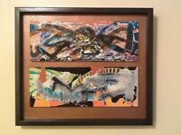 """ORIGINAL OIL ABSTRACT PAINTING SIGNED BY ARTIST CUSTOM FRAMED  18"""" X 16"""""""