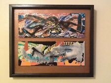 "ORIGINAL OIL ABSTRACT PAINTING SIGNED BY ARTIST CUSTOM FRAMED  18"" X 16"""