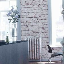 Rustic Red and White Wash Brick Look Wallpaper - Industrial / French - 10M - NEW