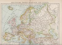 EUROPE POLITICAL OVERVIEW MAP  1899 Antique Map