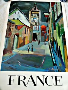 "FRANCE  VINTAGE TRAVEL POSTER 37 "" BY 25 "" IN    ORIGINAL 1960s"