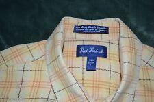 Paul Fredrick 100% cotton flannel yellow plaid button long sleeve L