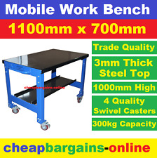 STEEL MOBILE WORK BENCH TROLLEY 2 TIER LEVEL WORKSHOP GARAGE BENCH TROLLEY 300kg