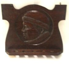 VINTAGE WOOD CARVED RELIEF RUSSIAN MAN FACE FIR COAT & HAT PIPE HOLDER OAK