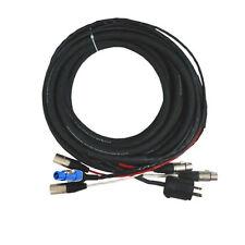 50ft Edison Plug to PowerCon Blue w/Dual 3-Pin XLR-F XLR-M Powered Speaker Cable