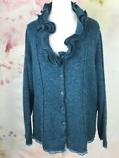 Women wool mohair blend shrug cardigan teal turquoise size 12 14 Made in Italy