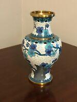 "Vintage JINGFA Chinese CLOISONNE Brass Enamel Vase, 6 1/2"""