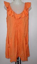 TULIO Size 14 Orange Smock Top in 100% Cotton Fabric