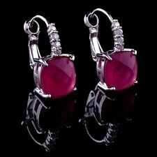 14k White Gold GF Dangle Earrings made w/ Swarovski Crystal Ruby Red Stone