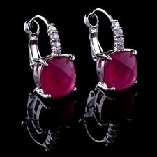 14k White Gold GF Ruby Dangle Earrings made w Swarovski Crystal Ruby Red Stone