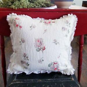 Ralph Lauren Shelter Island White Pink Linen Floral Throw Pillow Ruffle Cottage