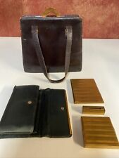 Evans Elegance Brown Leather Handbag/Purse Art Deco Vintage with Accessories