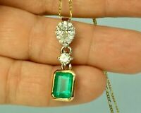 3.00 Ct Emerald & Diamond Fancy Pendant 14K Yellow Gold Over Free Chain 18""