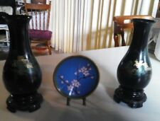 #SUNDAY MARKET#ASIAN COLLECTABLES:Pair Hand-painted Foochow Vases+Cloisonne Dish