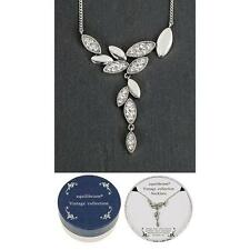 Equilibrium Vintage Collection Silver Solid Leaves Necklace