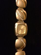 Quartz Watch Gold Tone Faux Diamond Watch
