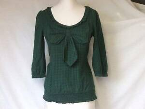 DOROTHY PERKINS CHECK COTTON BOW DETAIL BLOUSE SHIRT TOP LADIES SIZE 8 TEEN GIRL