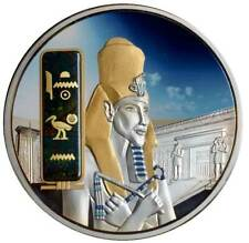 FIJI $50 2013 Egypt Jewels AKHENATEN Silver 2oz Gold/Palladium plated + Gemstone