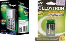 Lloytron Mains Battery Charger + 1 x LLoytron PP3 9V 250 mAh Rechargeable Batts.