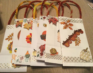 "Lot 7 Handmade Favor Gift Bags Fall Leaves Turkey Thanksgiving  7"" X 3 1/2"""
