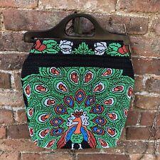 Vintage Retro Alternative Beaded Tote Shopper Bag Peacock Rockabilly