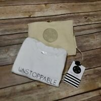 Bees & Weeds NEW NWT Unstoppable Tee Shirt 2 Black White Instabrand Screenprint