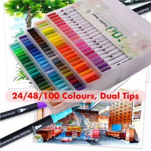 100 Colour Dual Tip Brush Pens with Fineliners Colouring Art Markers Drawing UK