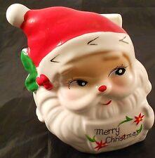 Santa Claus Napkin Letter Holder Red White Merry Christmas Ceramic