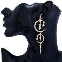 New Moon Star Stud Crystal Dangle Drop Rhinestone Earrings Women Fahsion Jewelry