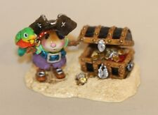 Wee Forest Folk Pirate's Treasure M-398a Mouse Pirate Treasure Chest Parrot