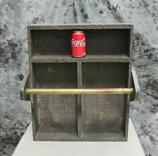 Large Primitive Wooden Tool Box Tote Carrier Repurpose as Organizer / Spice Rack