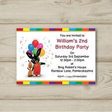 Bing Rabbit Balloons Birthday Party Invitations Personalised